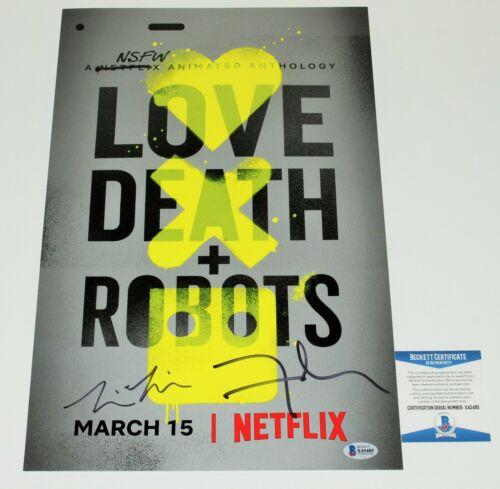 DAVID FINCHER TIM MILLER SIGNED LOVE DEATH + ROBOTS 11x17 POSTER BECKETT COA