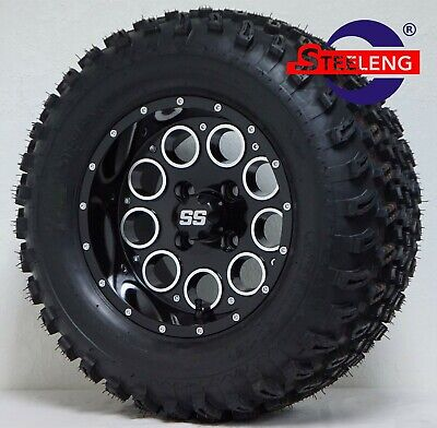 "GOLF CART 12"" Black 'PIONEER' WHEELS / RIMS and 23"" All Terrain TIRES SET OF 4"