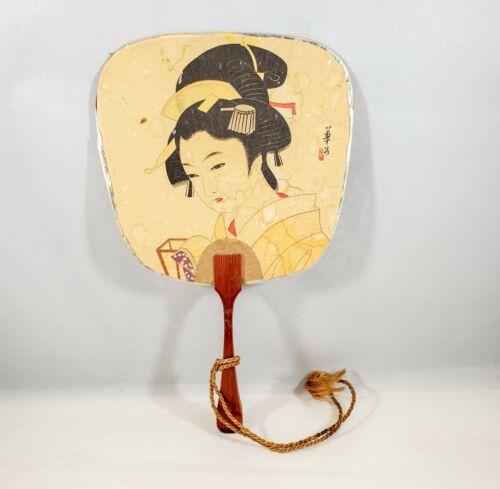 Vintage Japanese Girl Lady Souvenir Hand Fan Postcard Uchiwa with Wood Handle