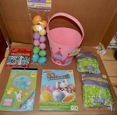 Easter Mix Lot 7 Items Mickey Cards Basket Paper Grass & Eggs Stickers Dye 163J