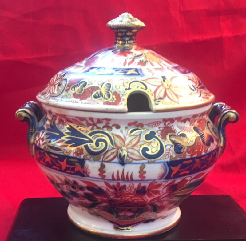 """Antique Royal Crown Derby Imari Decorated Soup Tureen (6"""" tall)"""