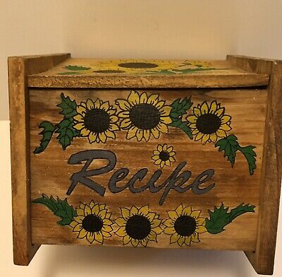 Vintage Wooden Recipe Box W/ Hinged Lid - Sunflowers - Hinged Wooden Box