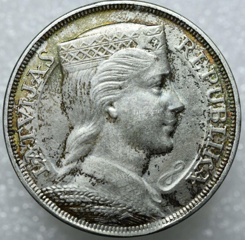 1932 Latvia Silver 5 Lati.