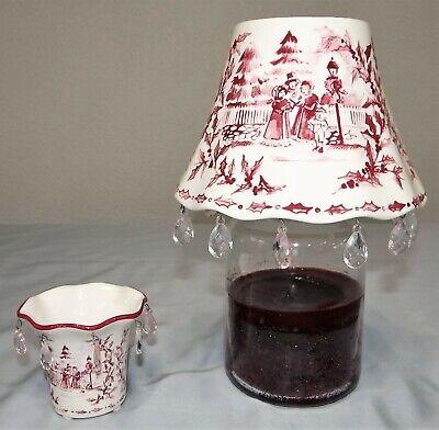 Yankee Candle Christmas Cranberry Red w Prisms Shade Chimney & Votive Holder Set