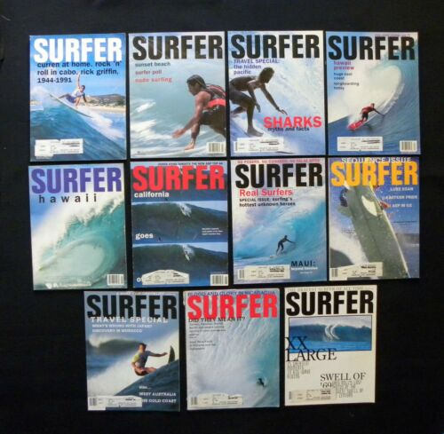 SURFER MAGAZINE 1992 VOL 33 LOT OF 11 ISSUES SURFER LONGBOARDING  HAWAII