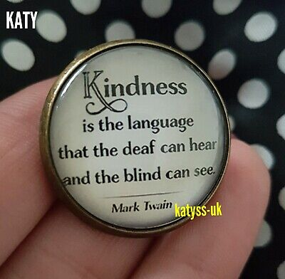 Vintage Style Small Brooch Pin Glass Cabochon Motivational Quote Copper Badge UK