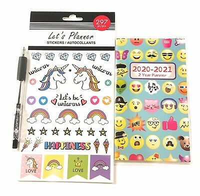 2020-2021 Emoji 2 Year Pocket Planner Calendar Organizer With Stickers And Pen
