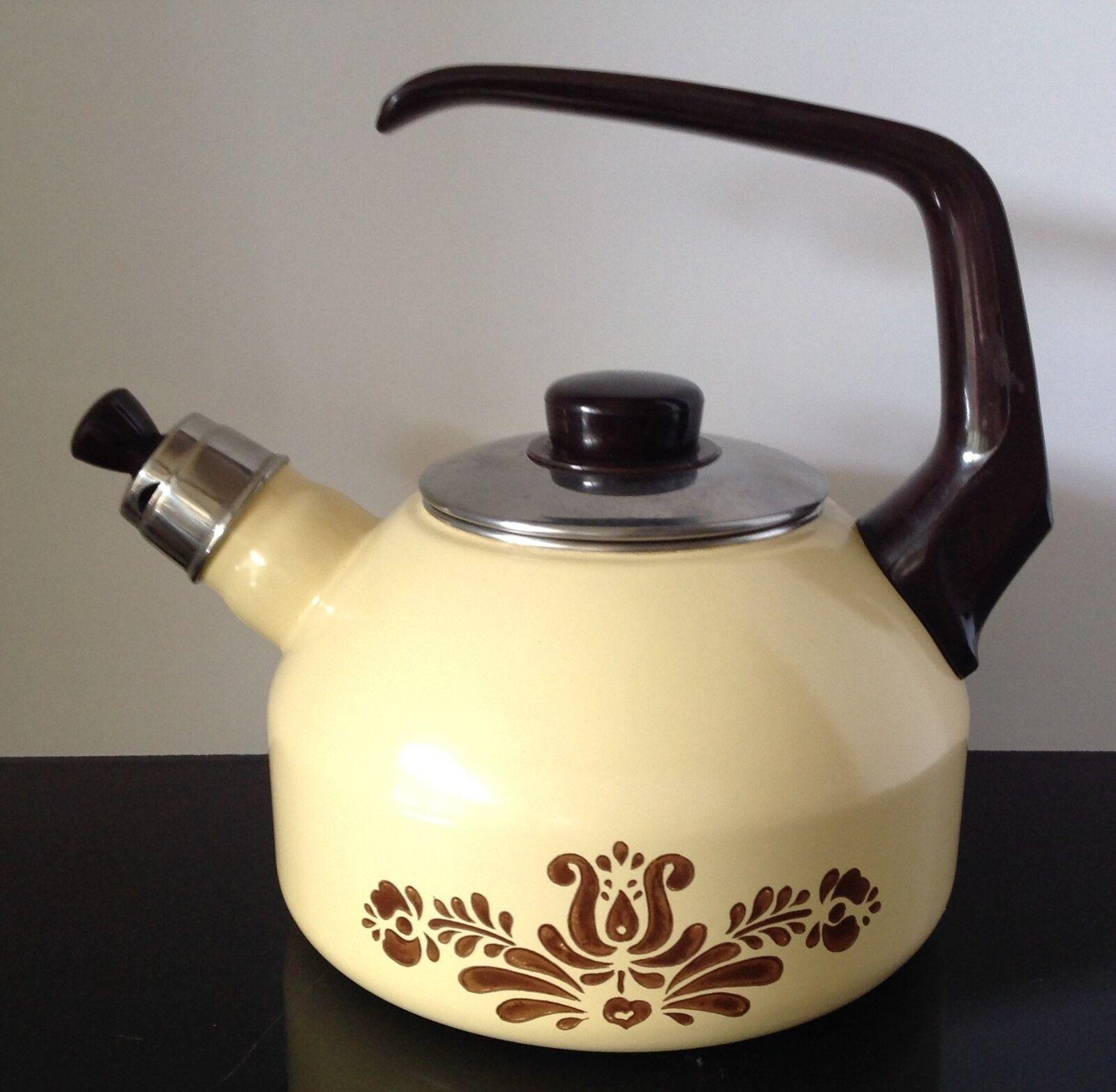 pfaltzgraff tea kettle village pattern whistling heavy metal 2 quart