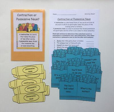 Teacher Made Literacy Center Resource Game Contraction or Possessive Noun