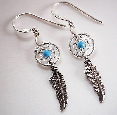 Very Small Turquoise Dream Catcher Dangle Earrings 925 Sterling Silver - Small Turquoise Dreamcatcher Earrings