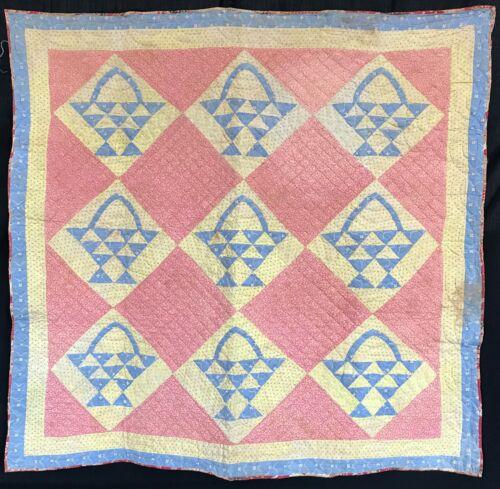 1870 Basket Crib Antique Quilt