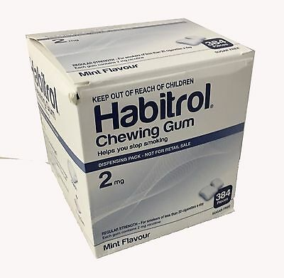 Habitrol 2mg Bulk MINT  1bx 384 pieces Nicotine Quit Smoking Gum (*Damaged Box*)