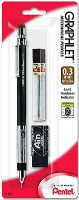 Pentel Graphlet Mechanical Pencil 0.3mm Black Hi-polymer Eraser 12 Leads 4mm Tip
