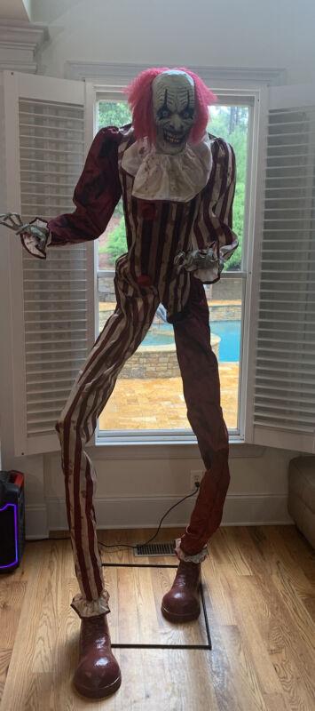 Spirit Halloween Creepy Towering Clown Animatronic 7 Feet Tall Scary Talking EUC