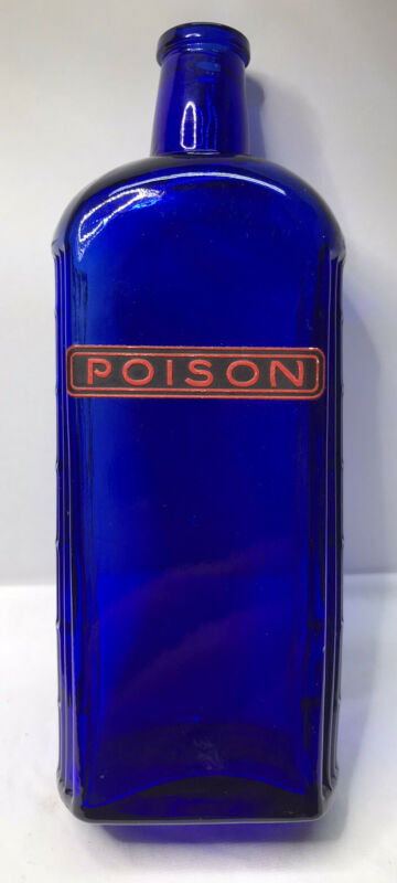 POISON Bottle Cobalt Blue With Label