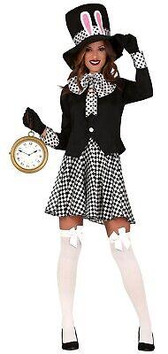 Crazy Ladies Costumes (Ladies Crazy Hat Black White Rabbit Halloween Book Fancy Dress Costume)