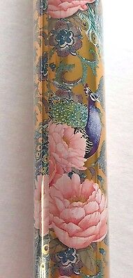 Punch Studio Gift Wrap Continuous Paper Roll Peacock Peony Pink Gold Floral