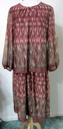 VTG 80s Metallic Gold Burgundy DRESS 2X Plus Evening Party ILGWU