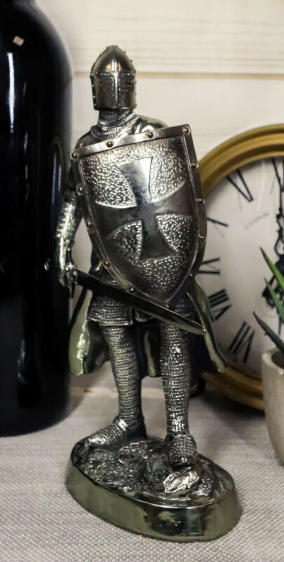 """Medieval Crusader Swordsman Knight Statue 7.5""""Tall Suit of Armor Heavy Infantry"""
