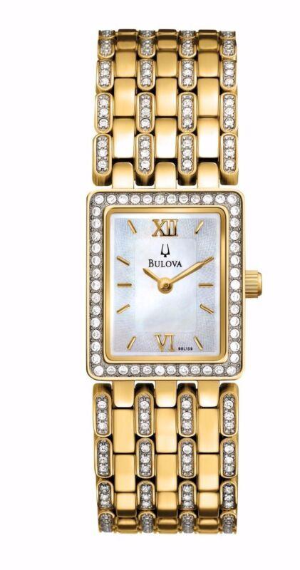 Bulova Women's 98L159 Crystal Bezel Yellow Gold Quartz Dress Bracelet