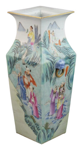 Antique Chinese Qing Dynasty Famille Rose Porcelain Vase w/ Qianlong Mark