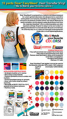 15 Yards Siser Easyweed Heat Transfer Vinyl Mix Match Your Favorite Colors