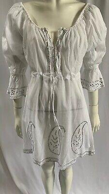 JULIET DUNN White Cotton Sequin Detail 3/4 Sleeve Kaftan Dress Size 1 UK 8/10