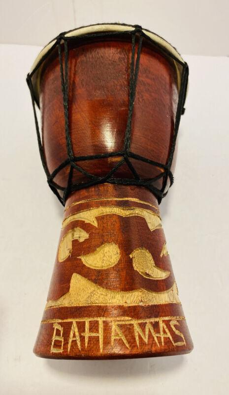 "Handmade Wooden Drum From Bahamas 7.5"" Tall"
