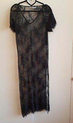 Zara see through black lace Halloween costume witch gothic long black dress 10 (Zara Halloween Costumes)