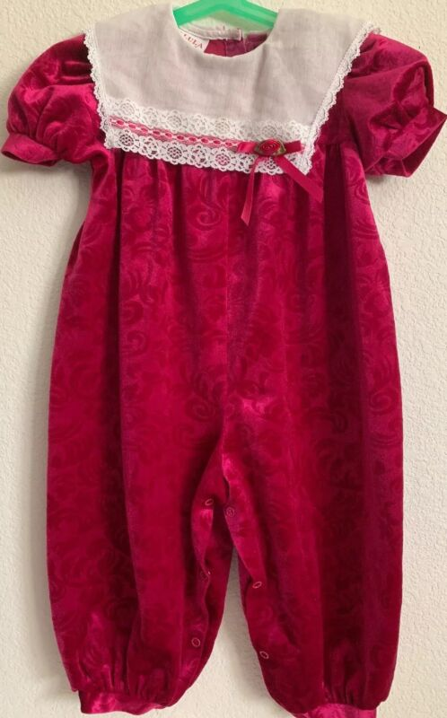 Vintage Girls Velvety Dressy Jumpsuit With Lace Fuschia Size 3T