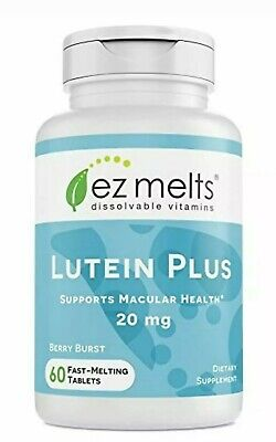 EZ Melts Dissolvable Vitamins Lutein Plus Berry 60 Fast-Melting Tabs exp 12/20