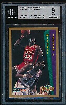 BGS 9 w/9.5 MICHAEL JORDAN 1992-93 92-93 Fleer Tony's Pizza Slam Dunk NNO (Fleer 92 93 Michael Jordan Slam Dunk)