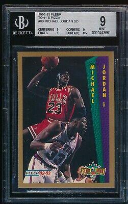 BGS 9 MICHAEL JORDAN 1992-93 92-93 Fleer Tony's Pizza Slam Dunk NNO Bulls (Fleer 92 93 Michael Jordan Slam Dunk)