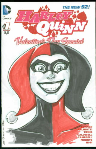 Harley Quinn #1 Blank cover with Sketch, Supports Parkinson Research