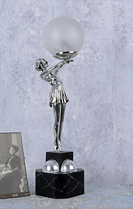 lampe de table art d co danseuse cran boule bauhaus 20 ann es ebay. Black Bedroom Furniture Sets. Home Design Ideas