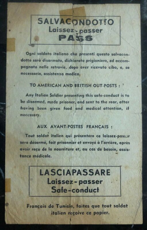 Original Great Britain Leaflet Dropped On Italy Troops By RAF Safe Conduct Pass