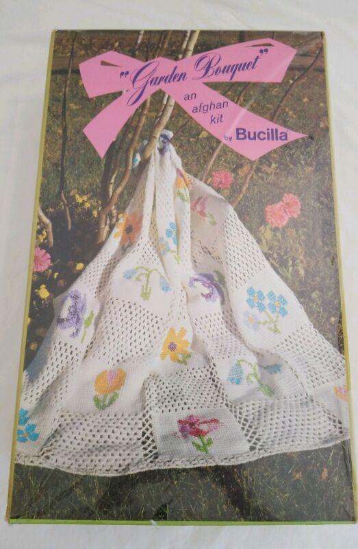 Vintage Bucilla Garden Bouquet Crochet Afghan KIT NIP