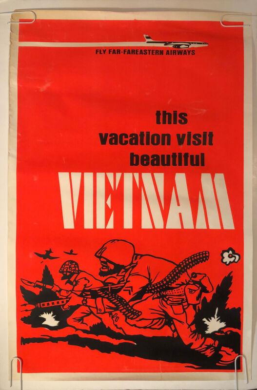 Original Vintage Blacklight Poster This Vacation Visit Beautiful Vietnam 1960s