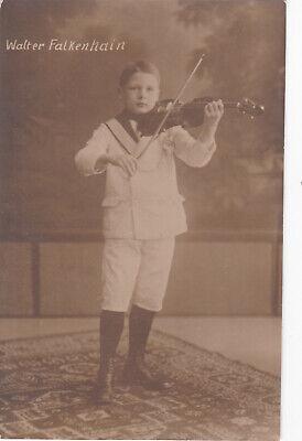 1910s WALTER FALKENHAIN Cute teen boy violonist violin old German antique photo (Cute Teen Boy)