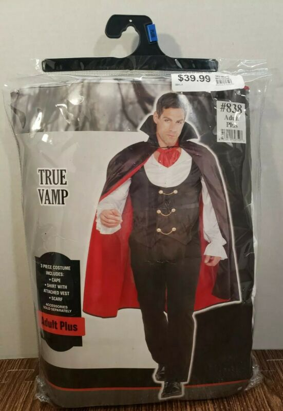 Vampire Costume True Vamp Black Halloween Party Size Adult Plus Men 48-52 NEW!