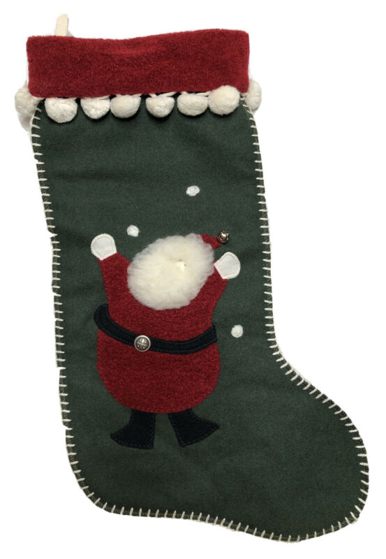 Woof And Poof Christmas Santa Stocking 2001 Green Red