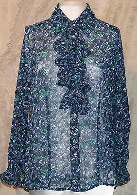 TWIGGY OF LONDON SO PRETTY TUNIC BLOUSE WITH RUFFLE FRONT & SLEEVES ABSTRACT L