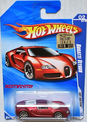 HOT WHEELS 2010 HOT AUCTION BUGATTI VEYRON #02/10 RED SATIN FACTORY SEALED W+