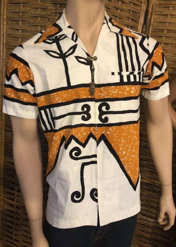 VTG Hawaiian Shirt Aloha Kilauea Tiki Zipper Pull Excellent Condition Small