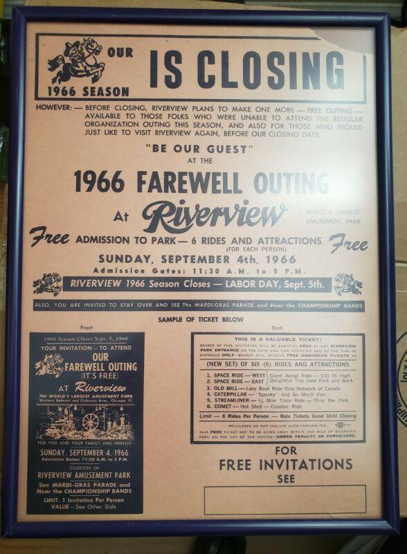 "Riverview Amusement Park Chicago 1966 Poster 12""x9"" Closing Season RARE Carnival"