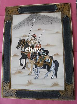 ideal gift Antique vintage retro Islamic Persian indian Art painting silk card