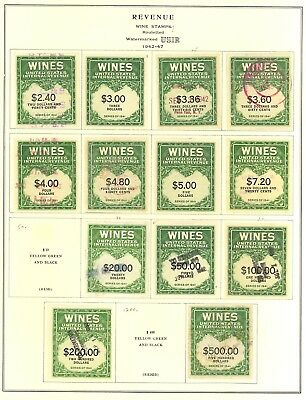 RE108//RE166, Unused/Used Wine Revenue Stamp Collection Cat $841.00 Stuart Katz