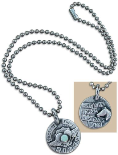 Protect this Rider Pewter Necklace for Horse Women by SweetBird Studio