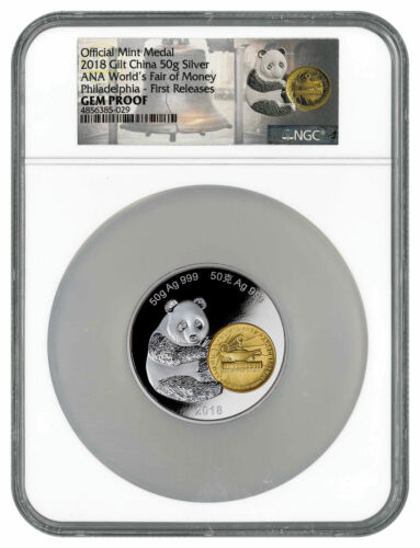 2018 Phil ANA Money Fair Panda 50 g Gilt Silver Medal NGC GEM Proof FR SKU54565