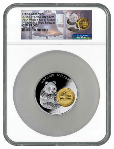 2018 China Phil ANA Money Fair Panda 50g Gilt Silver NGC GEM PF FDI SKU54563